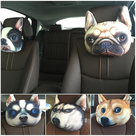 3D Printed Dog Face Car Headrest Pillows - Teeternal - 1