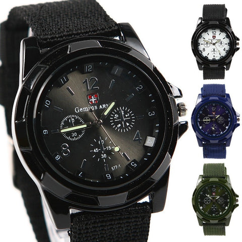 Military Style Canvas Belt Luminous Quartz Watch - Teeternal - 1