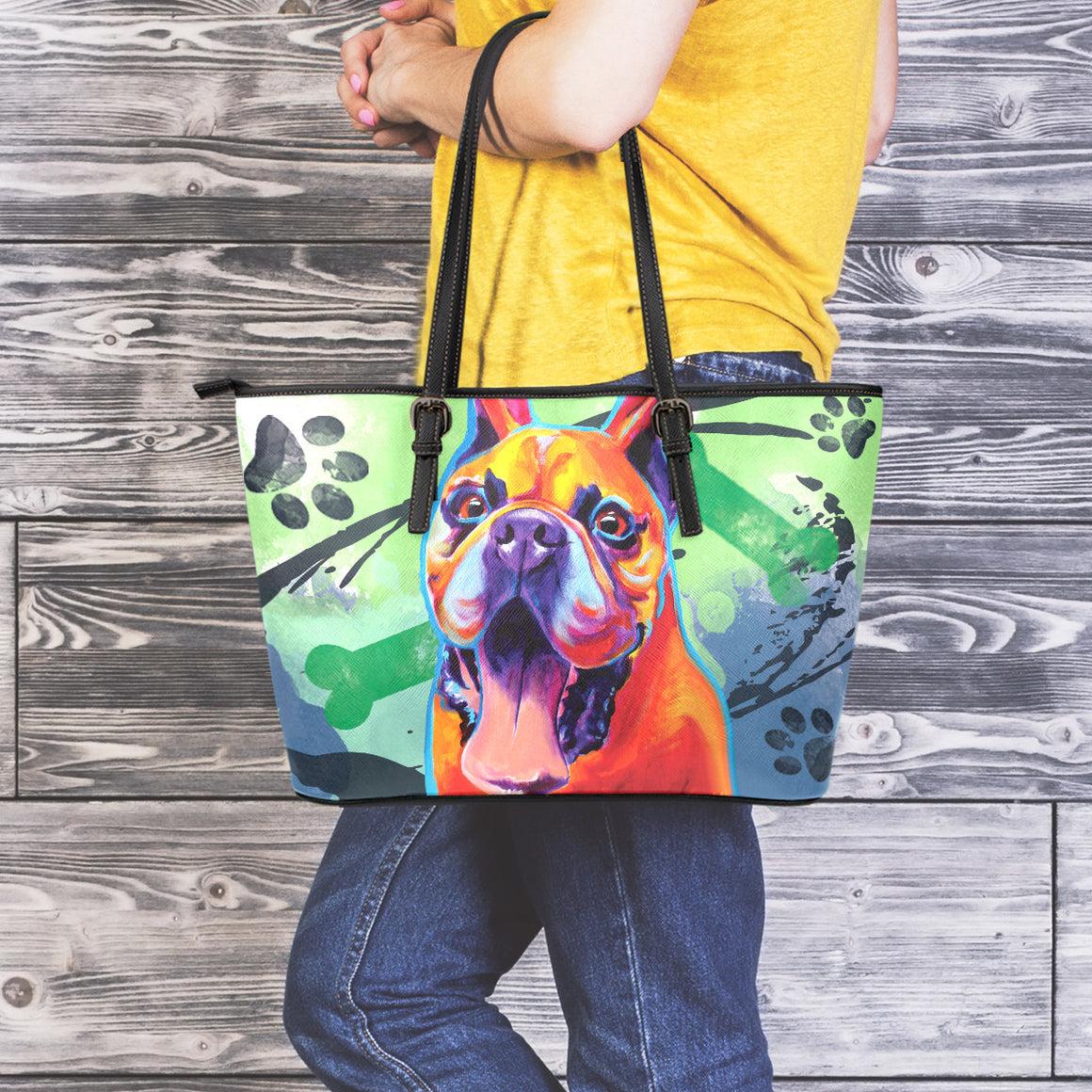 French Bulldog II Leather Totes (Large)
