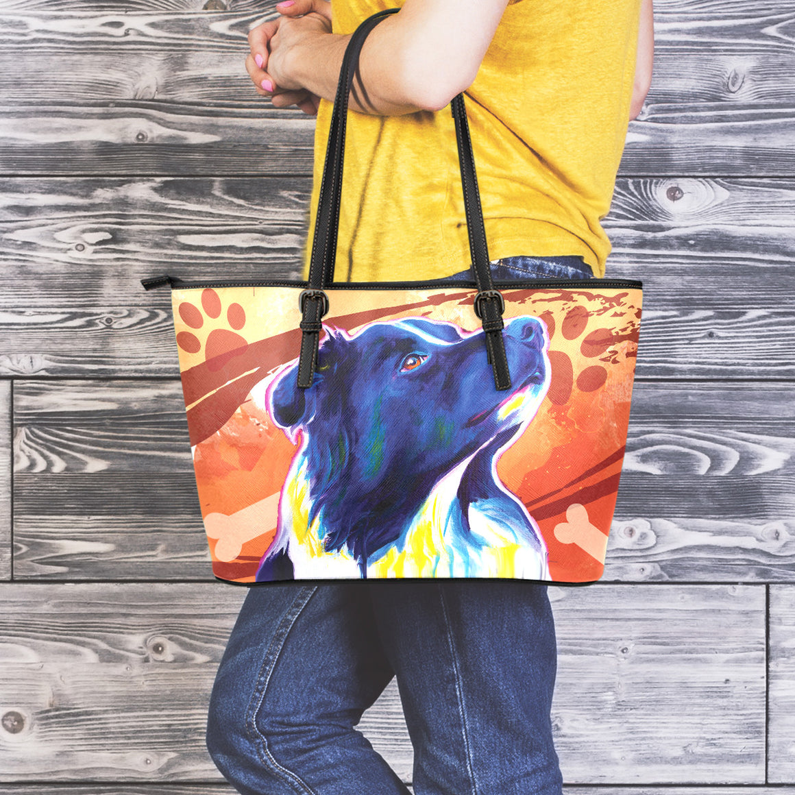 Border Collie Leather Totes (Large)