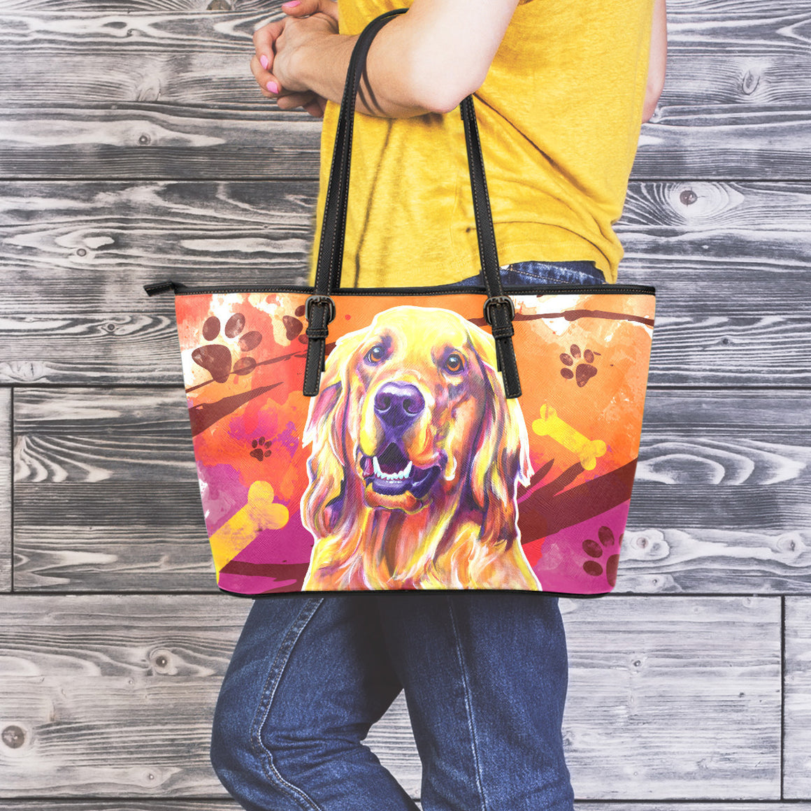 Golden Retriever II Leather Totes (Large)