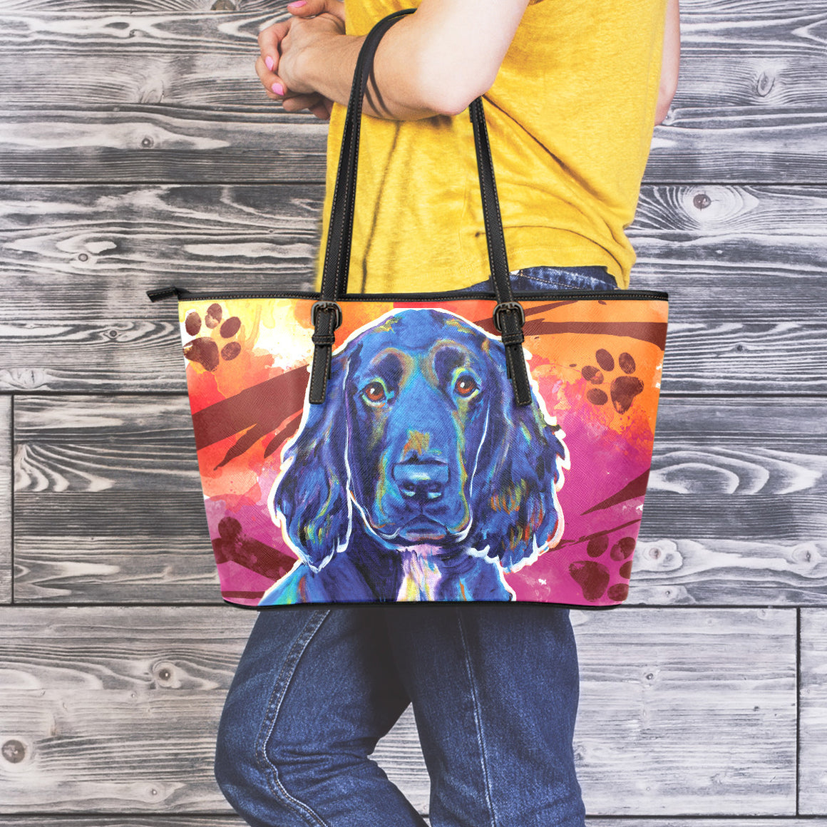 Cocker Spaniel Leather Totes (Large)