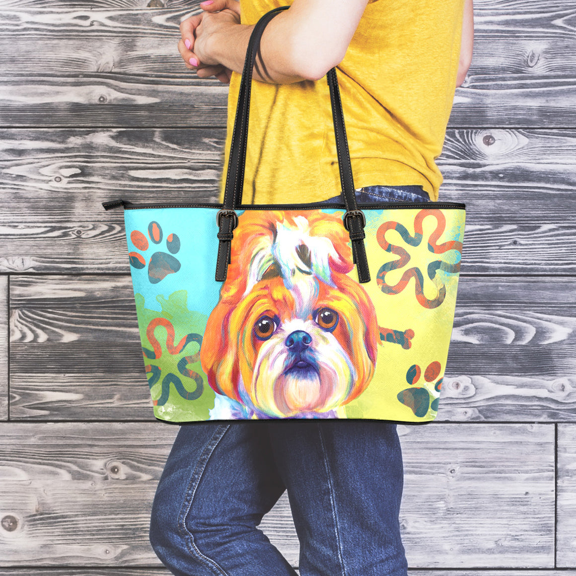 Shih Tzu Leather Totes (Large)