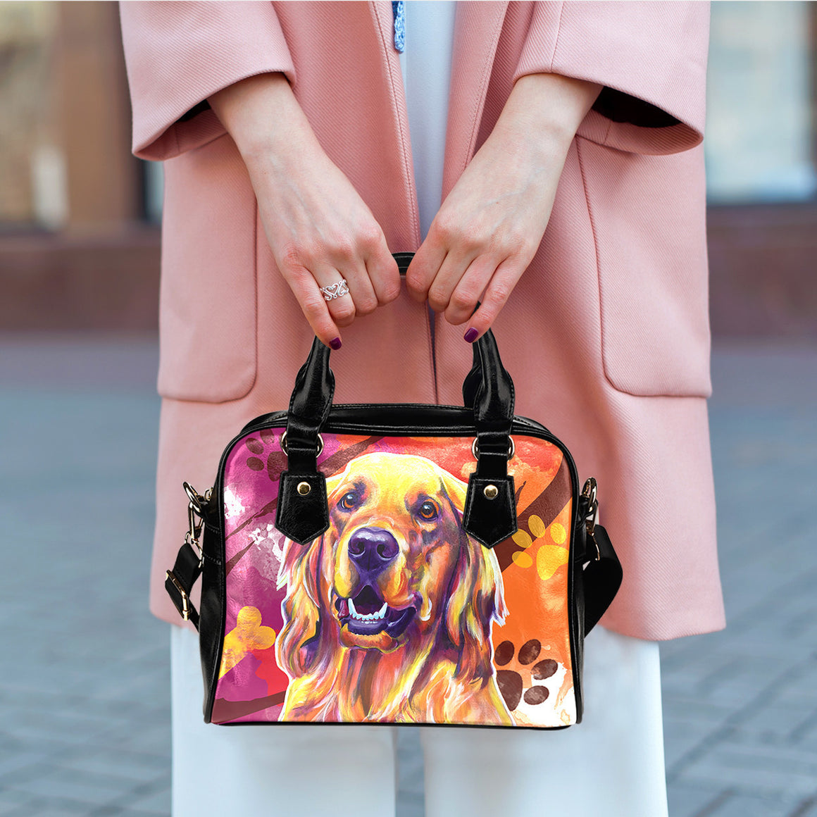 Golden Retriever II Shoulder Handbags