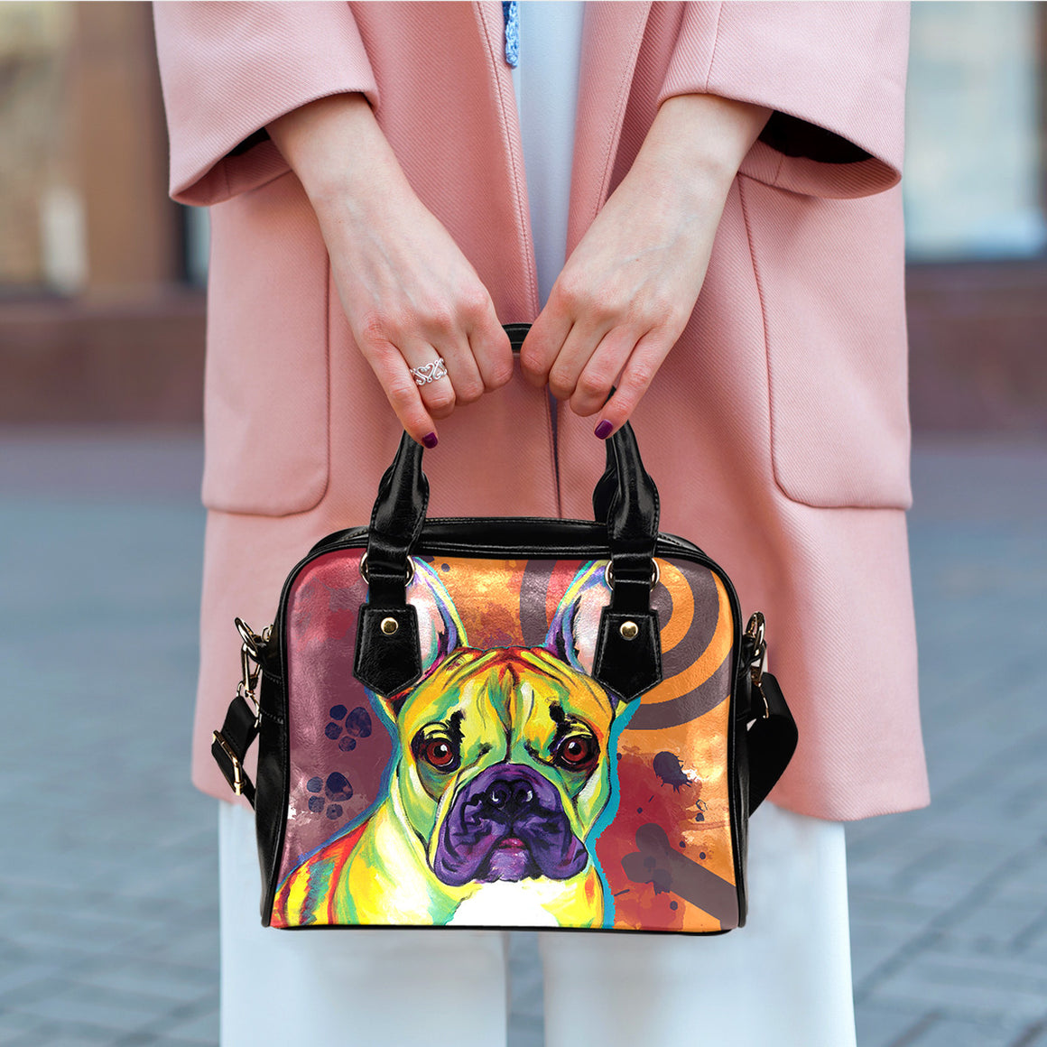 French Bulldog Shoulder Handbags
