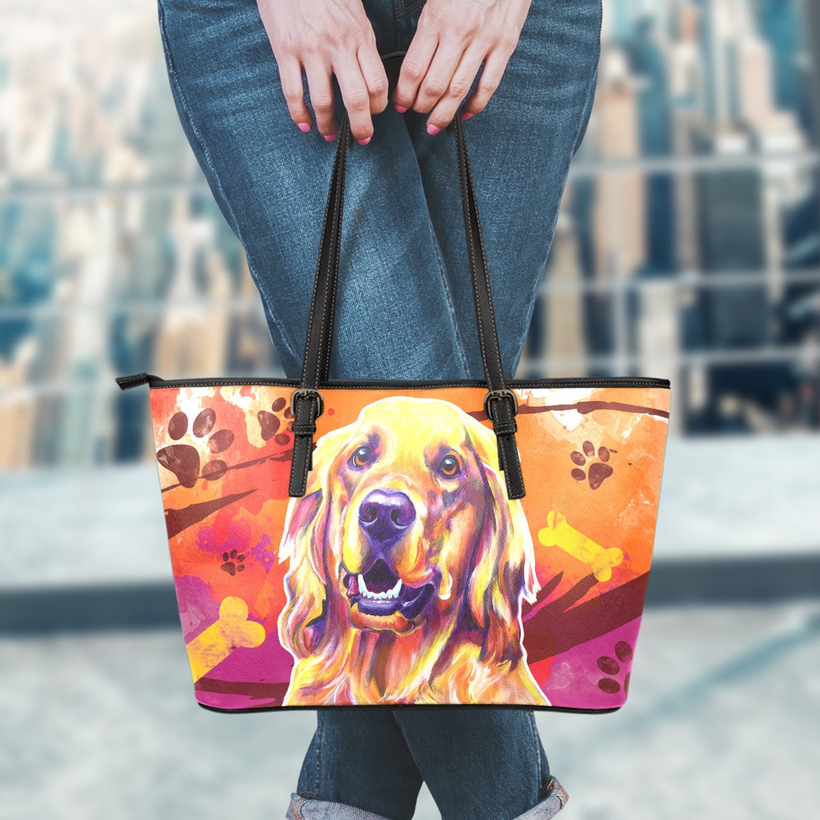 Golden Retriever II Leather Totes (Small)