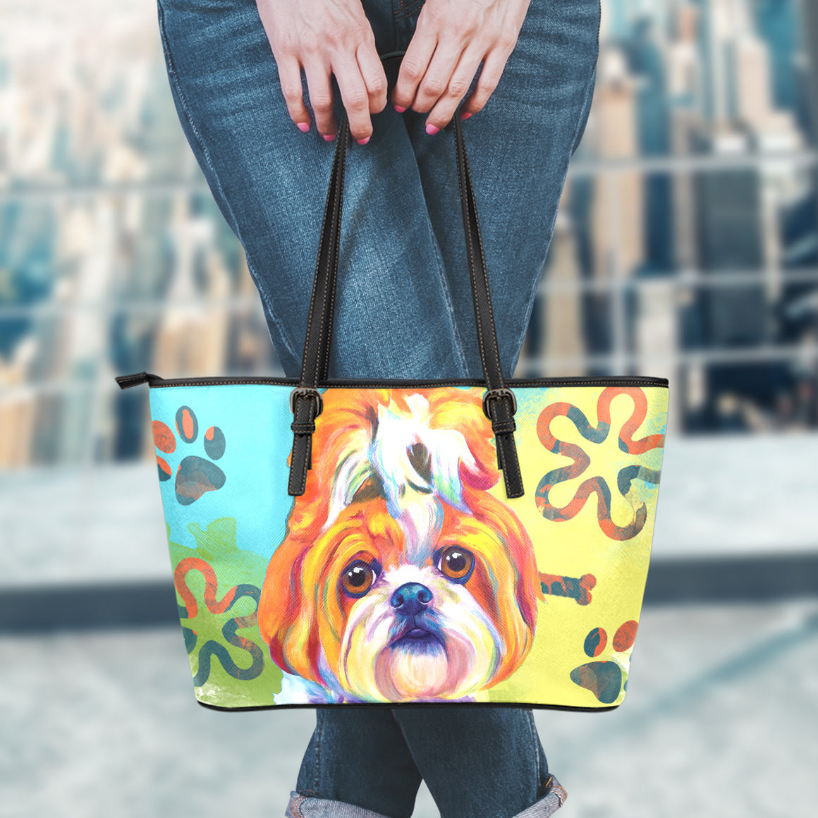 Shih Tzu Leather Totes (Small)