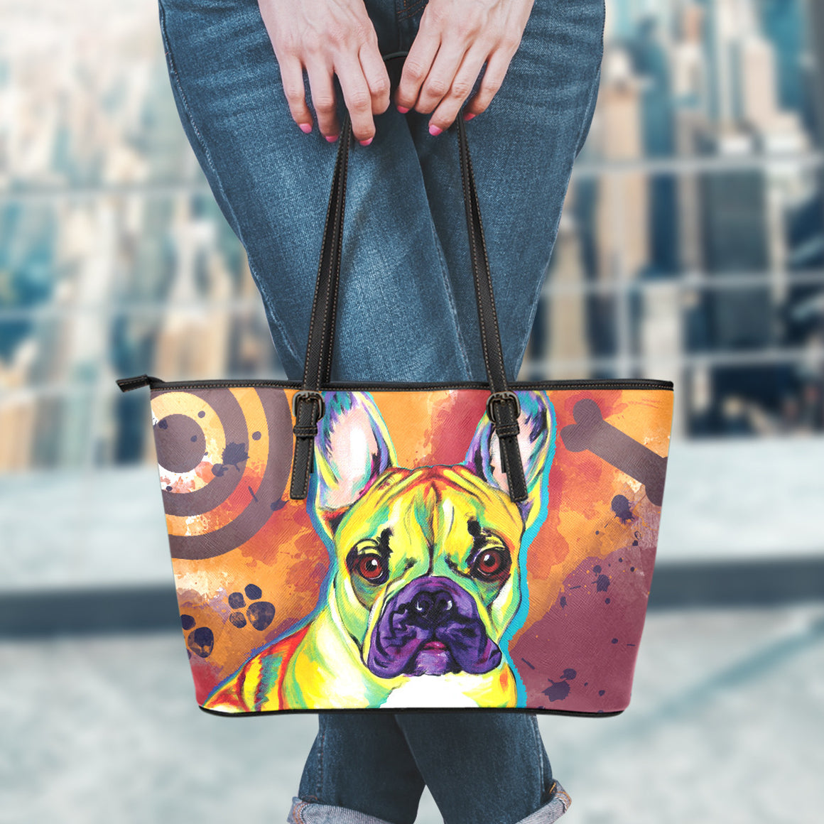 French Bulldog Leather Totes (Small)