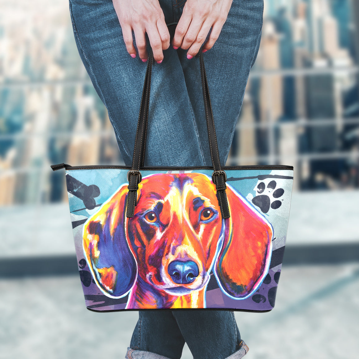 Dachshund Leather Totes (Small)