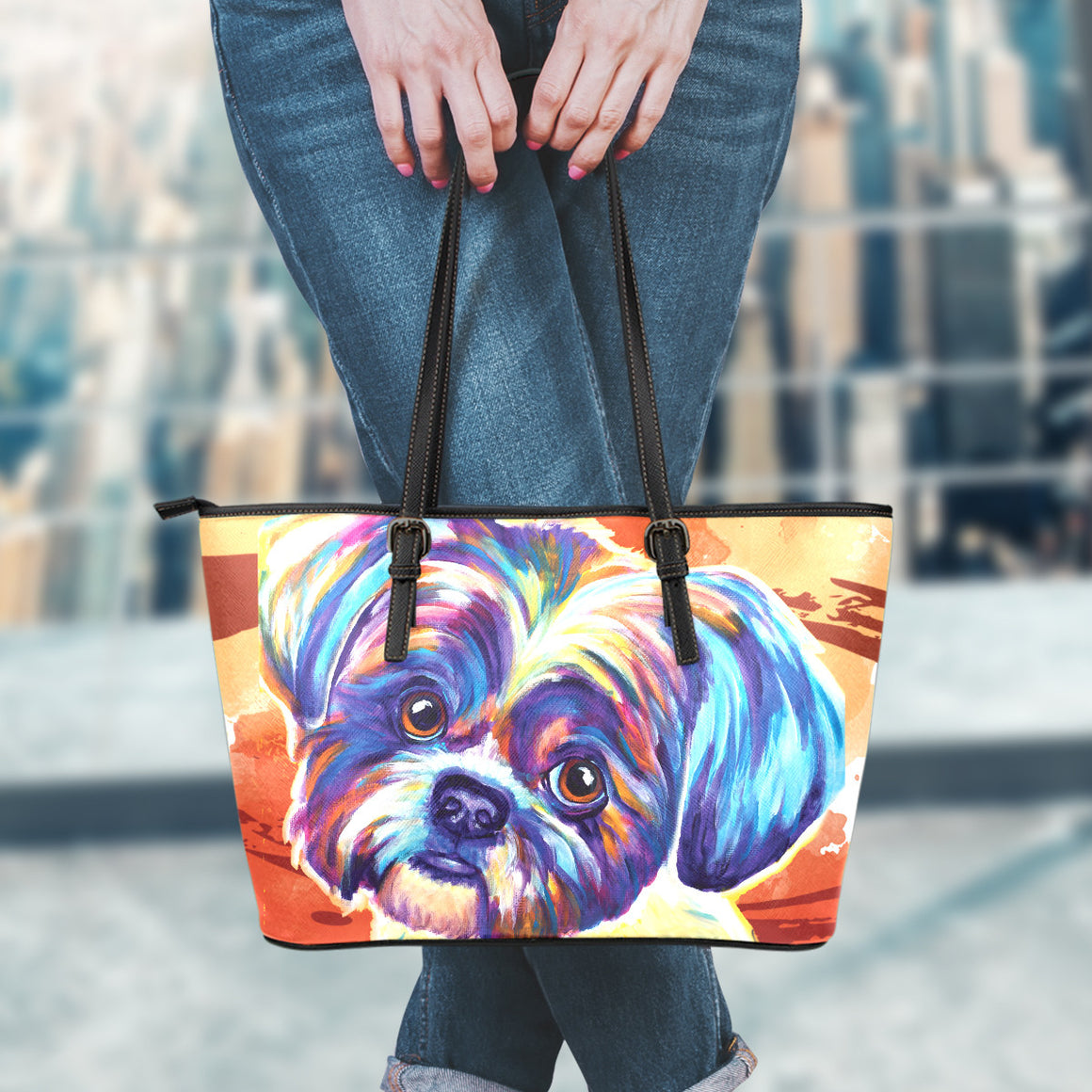 Shih Tzu II Leather Totes (Small)
