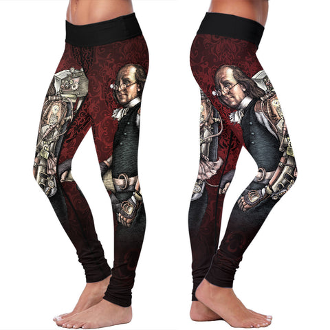 Steampunk Franklin Red Leggings