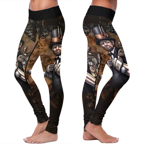 Steampunk Lincoln Abstract Leggings