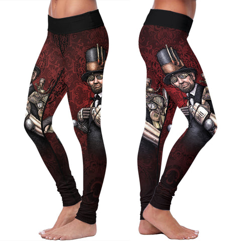 Steampunk Lincoln Red Leggings