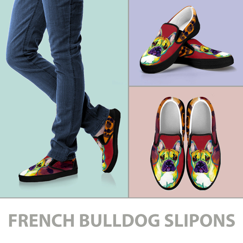 French Bulldog Slip-On Shoes (Black)