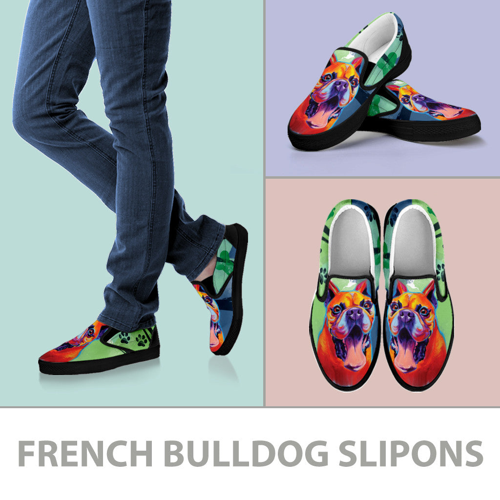 French Bulldog II Slip-On Shoes (Black)
