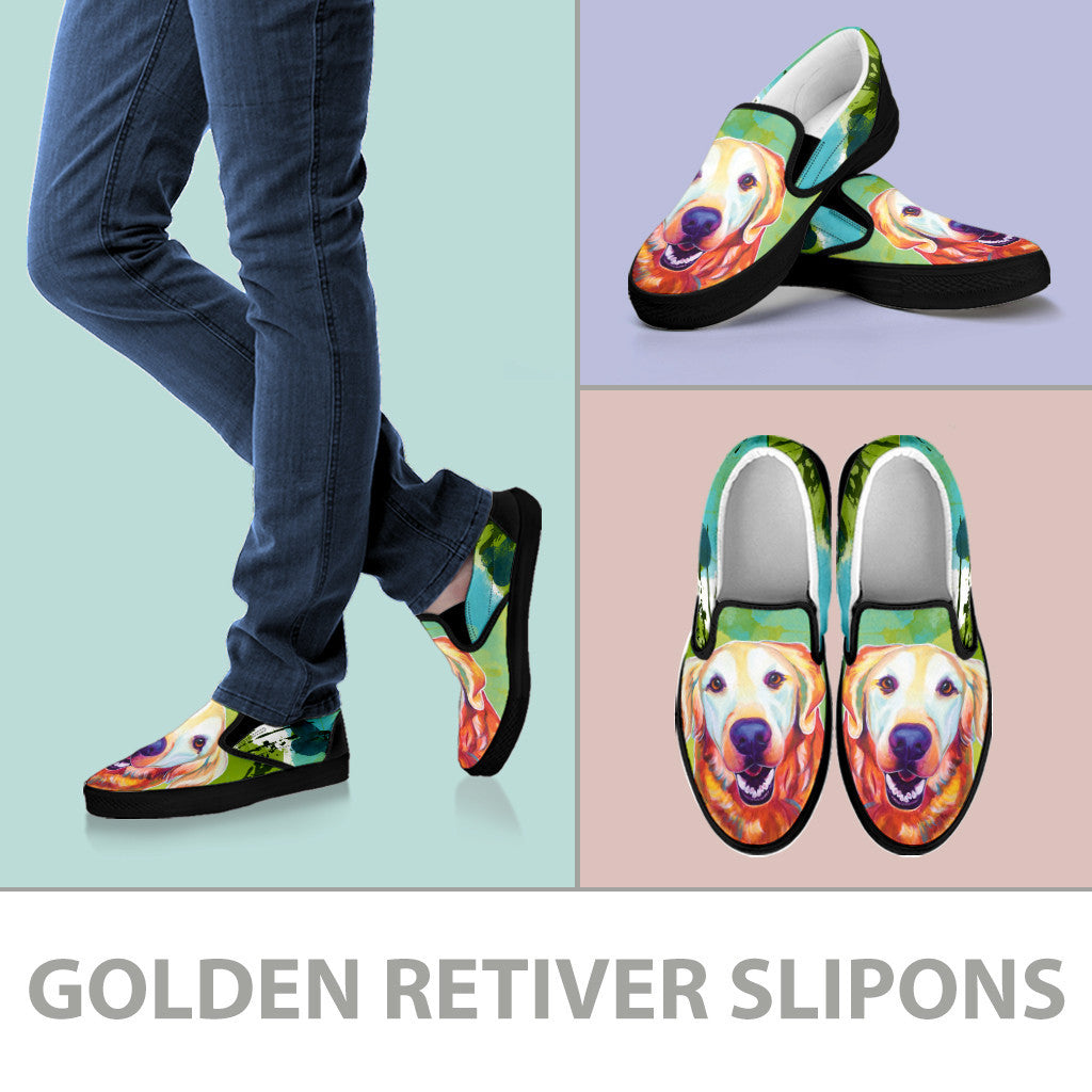 Golden Retriever Slip-On Shoes (Black)