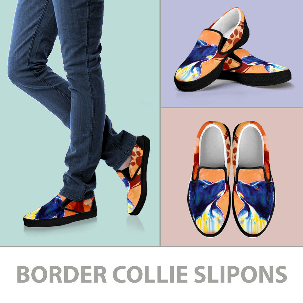Border Collie Slip-On Shoes (Black)