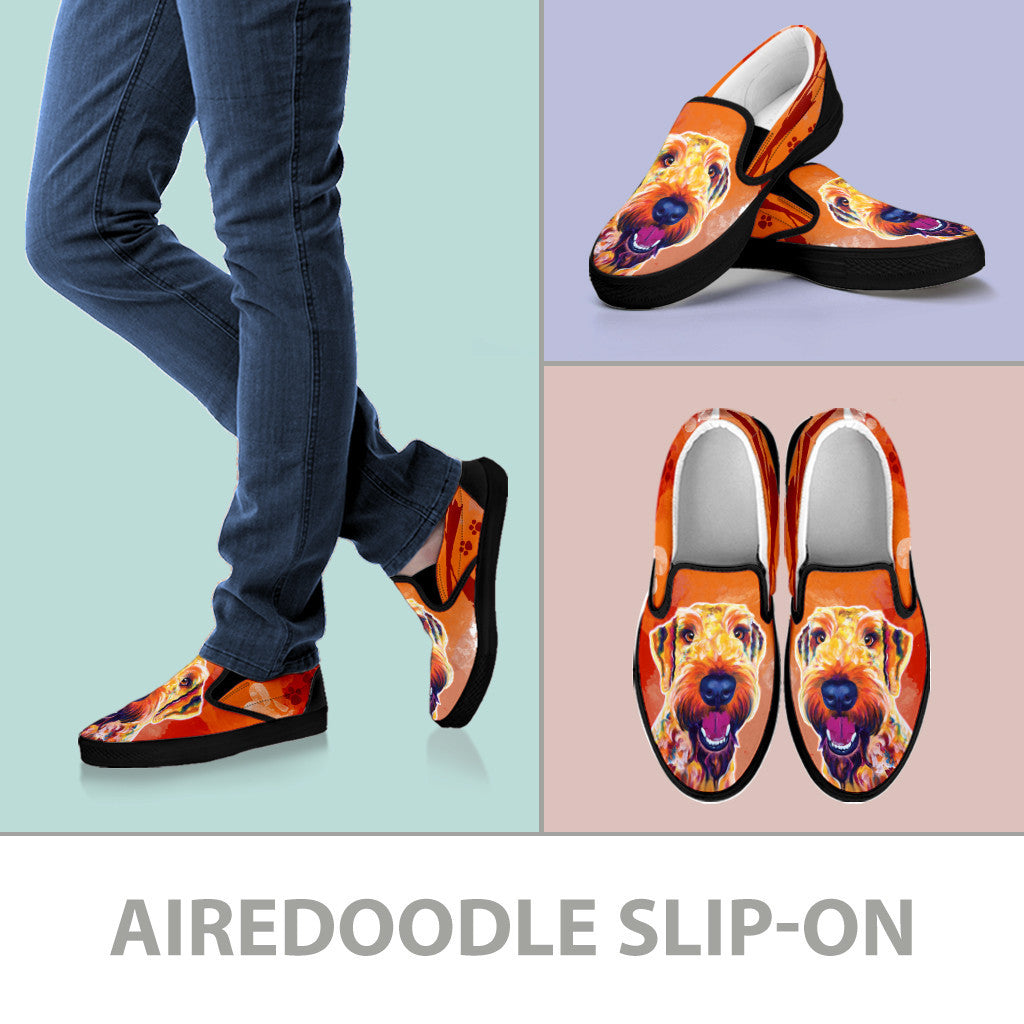 Airedoodle Slip-On Shoes (Black)