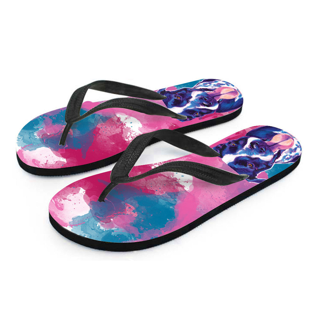 German Shorthaired Pointer Flip Flops (Black)