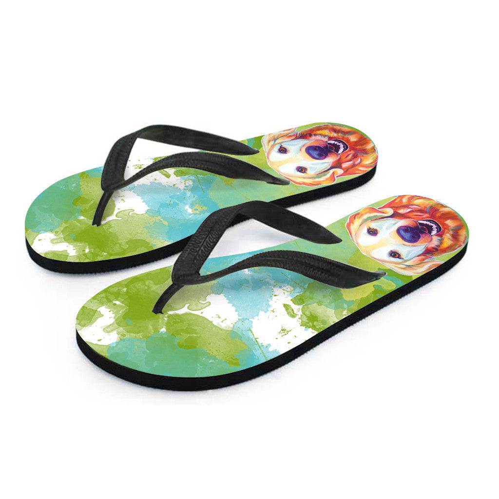 Golden Retriever Flip Flops (Black)
