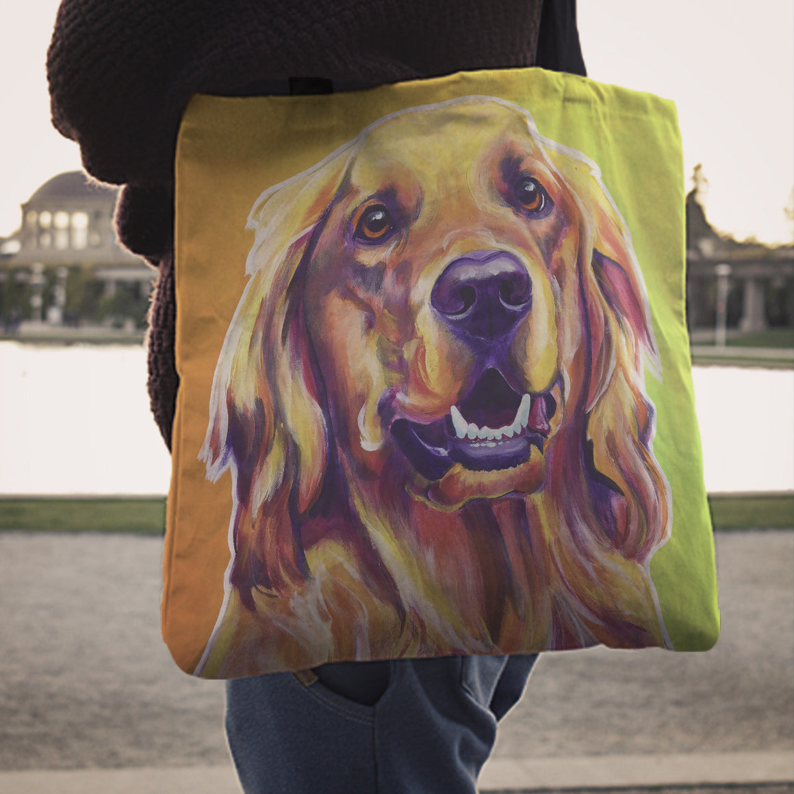 Golden Retriever II Linen Totes