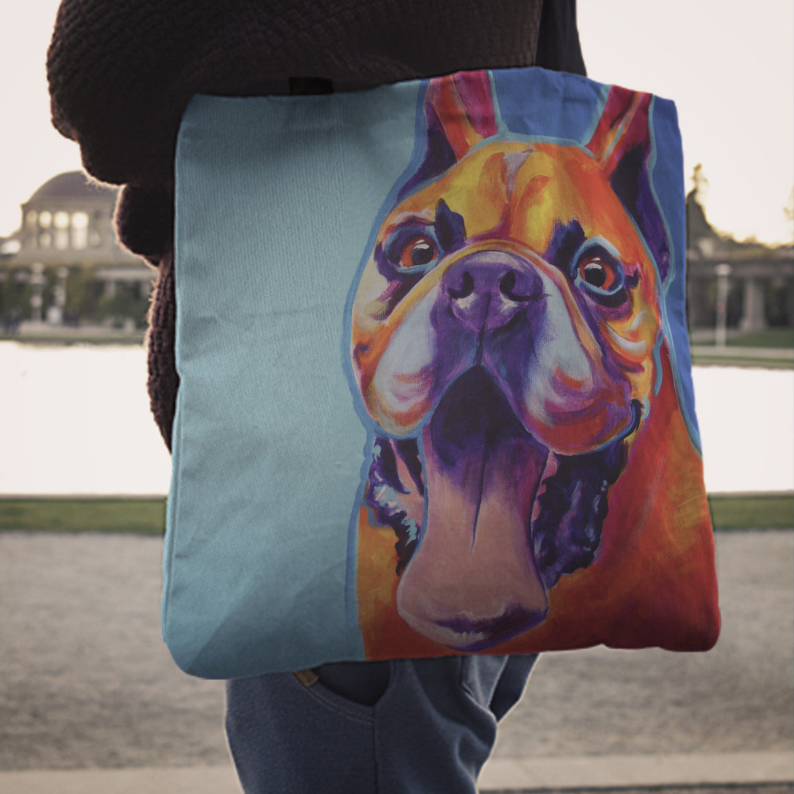 French Bulldog II Linen Totes