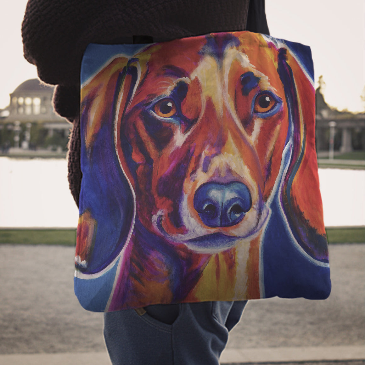 Dachshund Linen Totes
