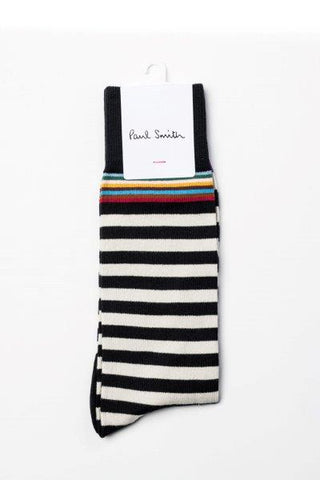 PAUL SMITH SOCK BLACK WHITE STRIPE