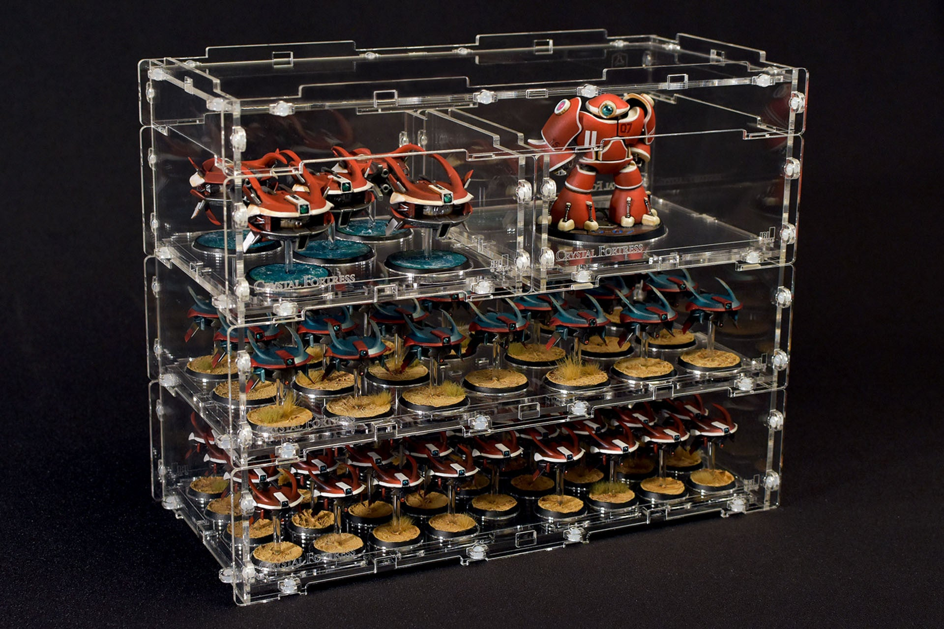 Modular display case system for miniatures