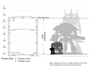 Sizing illustration showing acrylic case and cover height