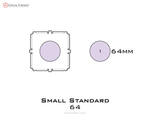 Diagram of Small Standard 64mm acrylic display case base - small image