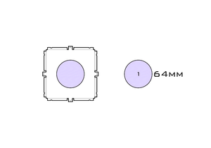Diagram of Small Standard 64mm acrylic display case base