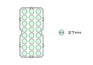Diagram of Medium Standard 27mm acrylic display case base