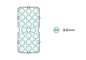 Diagram of Medium Standard 32mm acrylic display case base