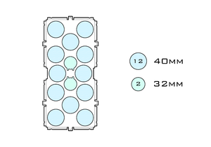 Diagram of Medium Standard 40mm acrylic display case base