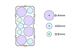 Diagram of Medium Standard 64mm acrylic display case base