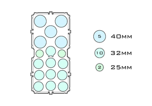 Diagram of Squad 40.5 32.10 25.2 acrylic display case base