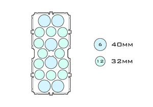 Diagram of Squad 40.6 32.12 acrylic display case base