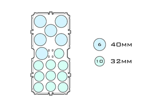 Diagram of Squad 40.6 32.10 acrylic display case base