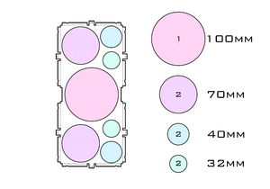 Diagram of Support 100.1 70.2 40.2 32.2 acrylic display case base