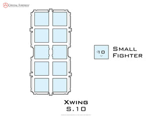 Diagram of X-Wing S10 miniatures acrylic display case base - small image