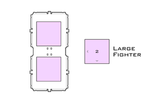 Diagram of X-Wing L.2 miniatures acrylic display case base