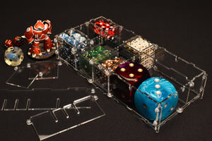 Acrylic display case pod for miniatures, models, and gaming dice