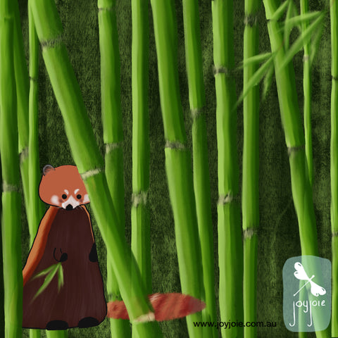 Red panda in bamboo forest illustration