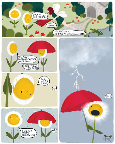 Graphic Novel page about a daisy with an umbrella