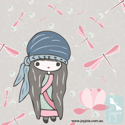 Illustrated kawaii girl with background pattern