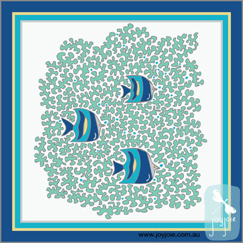 Scarf with fish in coral reef illustration