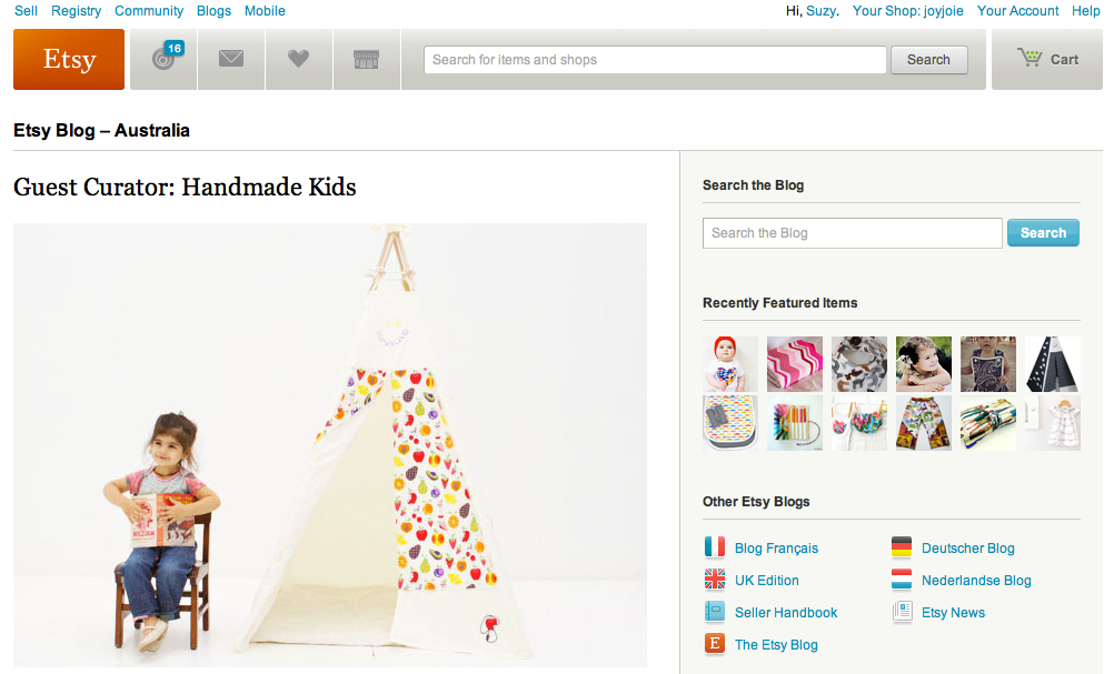 Etsy Blog Handmade Kids Guest Curator