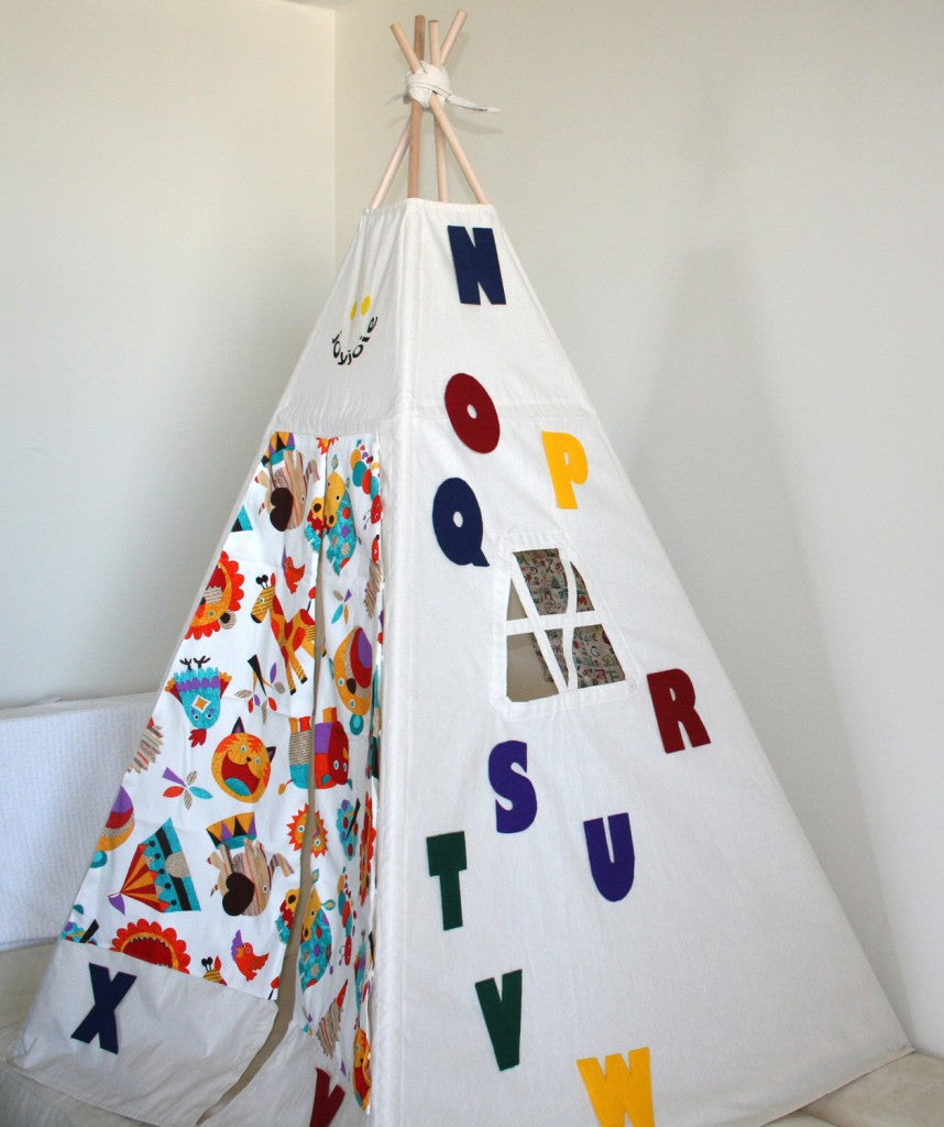 Alphabet teepee animal door