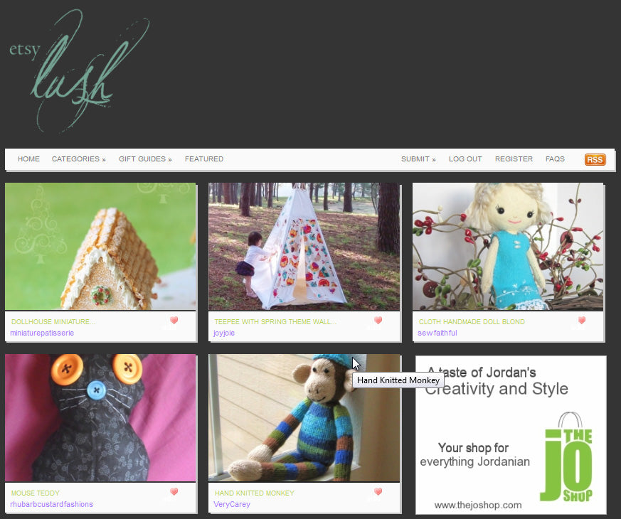 Teepee featured on Etsy Lush